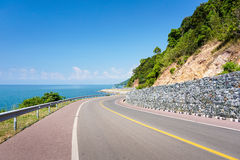 Sea side street. Near the mountain with blue sky in clear day Stock Image
