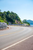 Sea side street. Near the mountain with blue sky in clear day Royalty Free Stock Images