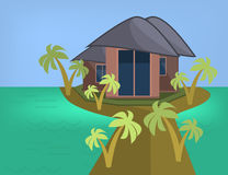 Sea Side Summer Landscape With House and Palm trees in Flat Design. Stock Photography