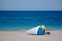 Sea side tent travel Royalty Free Stock Photo