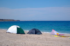 Sea side tent travel Royalty Free Stock Photography