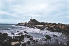 Sea side view of Yehliu Geopark in Taiwan Royalty Free Stock Images