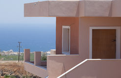Sea side villa on greek island Santorini Royalty Free Stock Photo