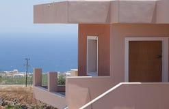 Sea side villa on greek island Santorini. The street on the greek island Santorini, Greece royalty free stock photo