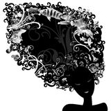 Sea Silohuette. A female stylized portrait usefull for every use, like logos,fashion,holiday Royalty Free Stock Image