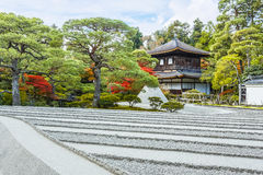 Sea of silver sand with Ginkaku-ji Temple in Kyoto Royalty Free Stock Photography