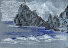 Sea sketch with rocks. Color pencil illustration. Sea sketch with rocks. Color pencil illustration on gray background vector illustration