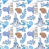 Sea Sketch Vector Pattern Stock Photography