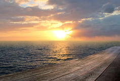 Sea and sky. Bridge on sunset,sky and sea royalty free stock images