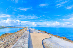 Sea, Sky And Benches In Okinawa Stock Photography