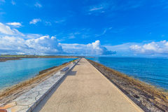 Sea, sky and benches in Okinawa Royalty Free Stock Images