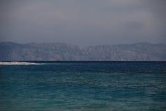 Sea sky cloud and islands rhodos. Sea sky cloud and islands landskape rhodos stock photo