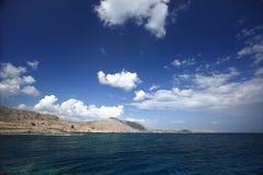 Sea sky cloud and islands rhodos. Sea sky cloud and islands landskape rhodos royalty free stock image