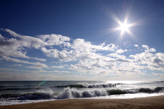 Sea, Sky, Clouds, Sun And Waves Stock Images