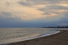 Sea and sky landscape in Cambrils Spain. Cambrils the small tourist town grew from the fishing settlement in 17 km from Tarragona and in 4 km to the south of Stock Photos