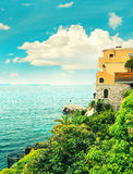Sea and sky. Mediterranean landscape, French riviera. Retro styl Stock Photo