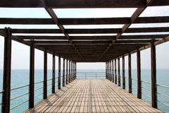 Sea, sky, pier, summer, blue, water, Black sea, lines Stock Images