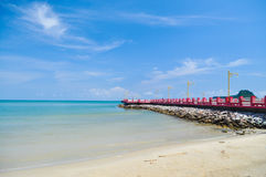 Sea Sky & Red bridge. Thailand Prachuapkhirikhun,  travel Royalty Free Stock Image