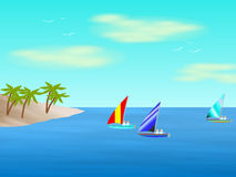 Sea, Sky and Sailboats Stock Images