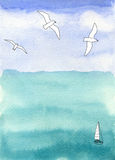 Sea and sky, seascape with boat and seagulls Stock Photos