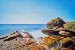 Sea, Sky, Shore, Rock stock image