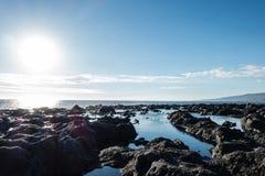 Sea, Sky, Shore, Rock stock images