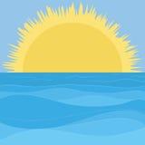 Sea, sky and sun. Landscape: blue sea and sky and yellow sun Stock Image