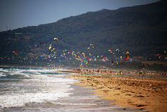 Sea and sky in Tarifa, Spain. Kites flying over Tarifa beach, Spain royalty free stock photo