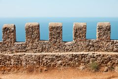 Sea and sky view from Alanya castle wall Stock Photos