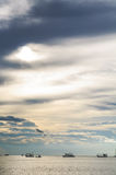 Sea Sky View. Vertical Sea Sky Horizon View Before Sunset In The Evening Royalty Free Stock Image