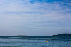 Sea. Sky Water Ship Ultramarine Lsland stock photos