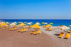 Sea skyview landscape of Elle beach on Rhodes island, Dodecanese, Greece. Panorama with nice sand beach and clear blue water. Famous tourist destination in royalty free stock photos