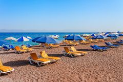 Sea skyview landscape of Elle beach on Rhodes island, Dodecanese, Greece. Panorama with nice sand beach and clear blue water. Famous tourist destination in stock photography