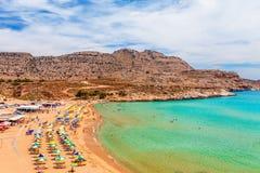 Sea skyview landscape photo of Agia Agathi beach near Feraklos castle on Rhodes island, Dodecanese, Greece. Panorama with sand stock photo