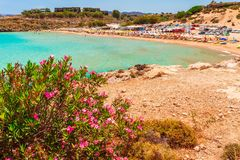 Sea skyview landscape photo of Agia Agathi beach near Feraklos castle on Rhodes island, Dodecanese, Greece. Panorama with sand royalty free stock photos