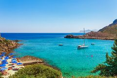 Sea skyview landscape photo Anthony Quinn bay near Ladiko bay on Rhodes island, Dodecanese, Greece. Panorama with nice sand beach. Sea skyview landscape photo stock images