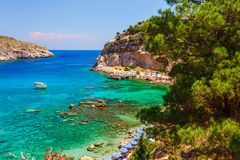Sea skyview landscape photo Anthony Quinn bay near Ladiko bay on Rhodes island, Dodecanese, Greece. Panorama with nice sand beach royalty free stock photos