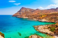Sea skyview landscape photo of coast near Stegna beach and Archangelos on Rhodes island, Dodecanese, Greece. Panorama with sand. Sea skyview landscape photo of royalty free stock photography