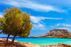 Sea skyview landscape photo with Feraklos castle near Agia Agathi beach on Rhodes island, Dodecanese, Greece. Panorama with sand. Sea skyview landscape photo royalty free stock images