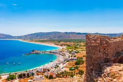 Sea skyview landscape photo from Feraklos castle near Agia Agathi beach on Rhodes island, Dodecanese, Greece. Panorama with sand royalty free stock photography