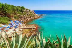 Sea skyview landscape photo Ladiko bay near Anthony Quinn bay on Rhodes island, Dodecanese, Greece. Panorama with nice sand beach. And clear blue water. Famous stock photo