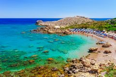 Sea skyview landscape photo Ladiko bay near Anthony Quinn bay on Rhodes island, Dodecanese, Greece. Panorama with nice sand beach. And clear blue water. Famous royalty free stock photography