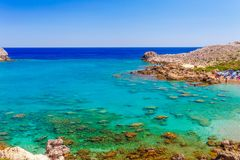 Sea skyview landscape photo Ladiko bay near Anthony Quinn bay on Rhodes island, Dodecanese, Greece. Panorama with nice sand beach. And clear blue water. Famous royalty free stock photos