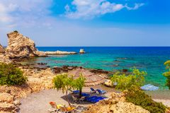 Sea skyview landscape photo of picturesque beach near Stegna and Archangelos on Rhodes island, Dodecanese, Greece. Panorama with stock images