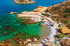 Sea skyview landscape photo of picturesque beach near Stegna and Archangelos on Rhodes island, Dodecanese, Greece. Panorama with stock image