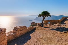 Sea skyview landscape photo from ruins of Monolithos castle on Rhodes island, Dodecanese, Greece. Panorama with green mountains royalty free stock images