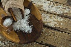 Sea slat on wooden plate Stock Image