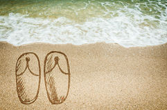 Sea and slippers shoes Stock Image