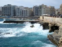 The strength of the sea in Sliema, Malta Royalty Free Stock Images