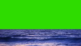 Sea and Small waves on a Green Screen Background